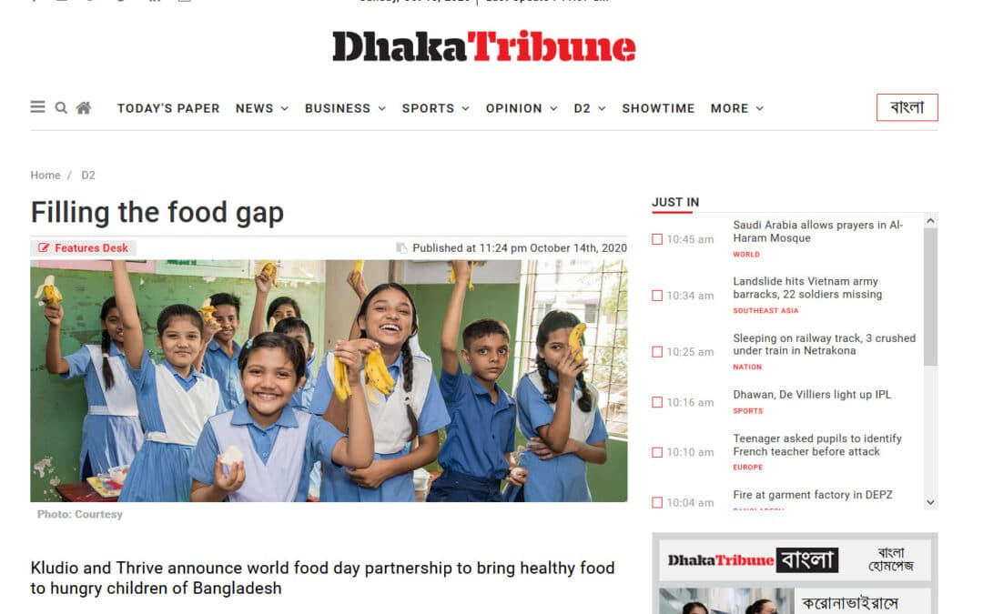 Thrive Featured on Dhaka Tribune October 14th